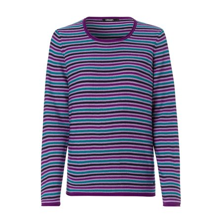 Olsen Round Neck Jumper With Stripe Design Violet  - Click to view a larger image