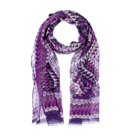 Olsen Geometric Print Scarf Purple  - Click to view a larger image