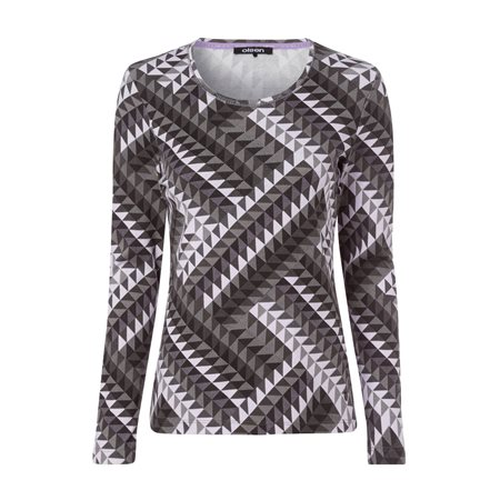 Olsen Full Sleeve With Geometric Print Design Grey  - Click to view a larger image