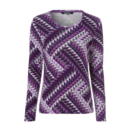 Olsen Full Sleeve With Geometric Print Design Purple  - Click to view a larger image