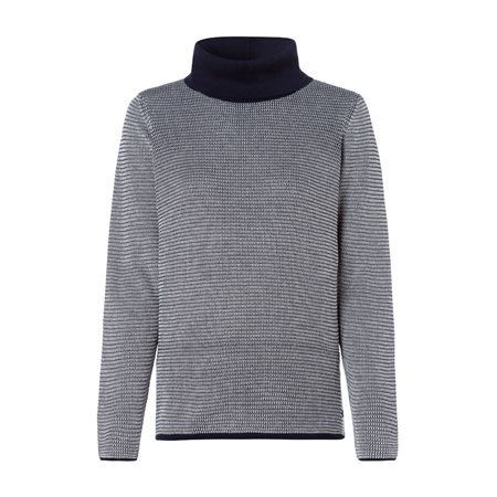 Olsen Roll Neck Jumper With Waffle Texture Navy  - Click to view a larger image