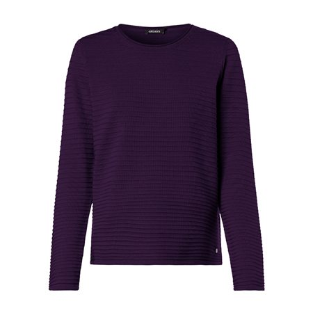 Olsen Round Neck Jumper With Ribbed Texture Purple  - Click to view a larger image