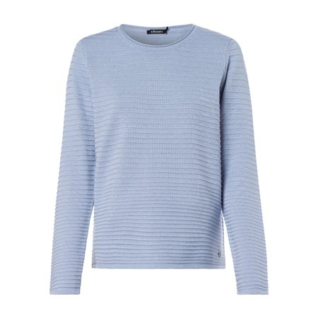 Olsen Round Neck Jumper With Ribbed Texture Blue  - Click to view a larger image