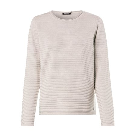 Olsen Round Neck Jumper With Ribbed Texture Cream  - Click to view a larger image