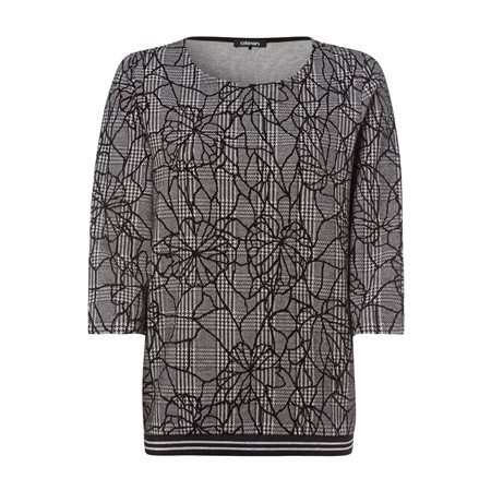 Olsen Jumper With Glencheck Flower Pattern Black  - Click to view a larger image