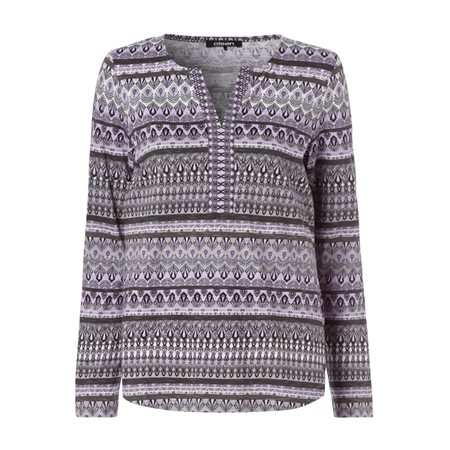 Olsen Open Neck Top With Missoni Inspired Print Lilac  - Click to view a larger image