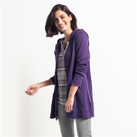 Olsen Hooded Cardigan Purple  - Click to view a larger image