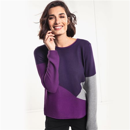 Olsen Round Neck Jumper In Colour Block Design Purple  - Click to view a larger image