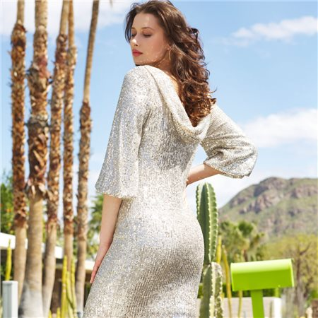 Fee G Sequined Dress Silver  - Click to view a larger image