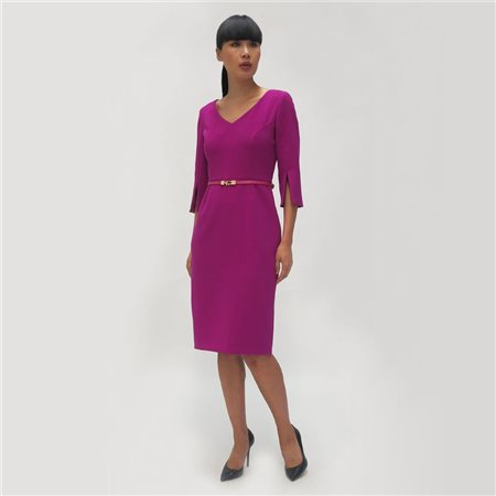 Fee G Fitted Dress With Belt Magenta  - Click to view a larger image