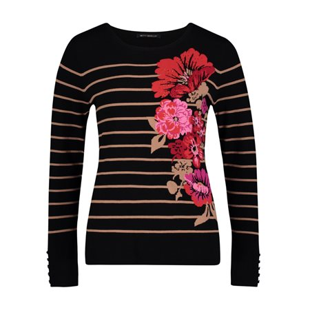 Betty Barclay Floral Motif Jumper Black  - Click to view a larger image