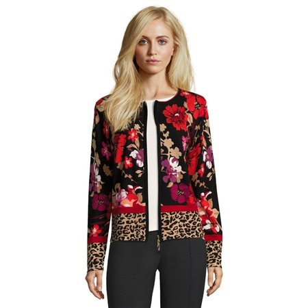 Betty Barclay Floral Print Cardigan Red  - Click to view a larger image