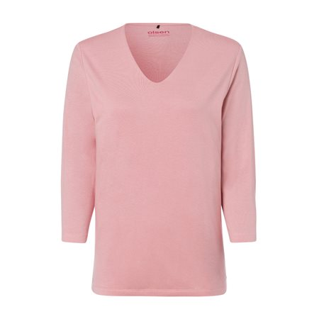 Olsen V Neck Top With 3/4 Sleeve Rose  - Click to view a larger image