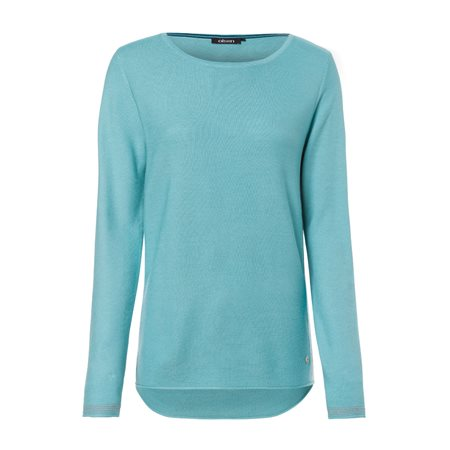 Olsen Round Neck Jumper With Side Stripe Detail Jade  - Click to view a larger image