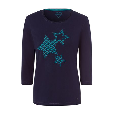 Olsen 3/4 Sleeve Top With Star Design Navy  - Click to view a larger image