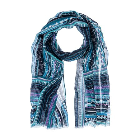 Olsen Geometric Print Scarf Teal  - Click to view a larger image