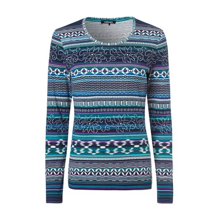 Olsen Long Sleeve Top With Geometric Print Teal  - Click to view a larger image