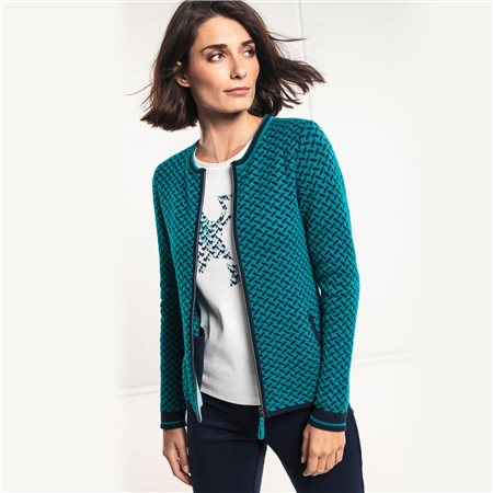 Olsen Cardigan With Two Way Zipper Green  - Click to view a larger image