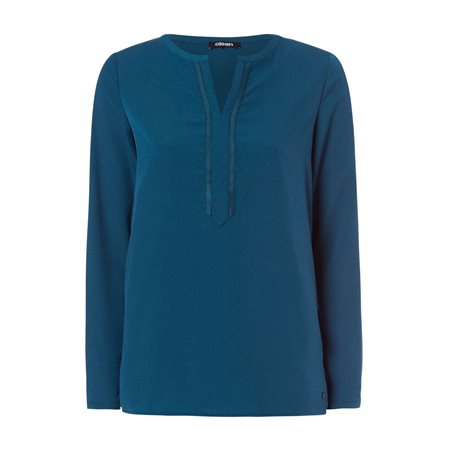 Olsen Long Sleeved Top With Decorative Neckline Teal  - Click to view a larger image