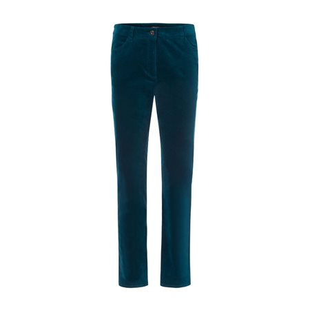 Olsen Mona Slim Velvet Trouser Teal  - Click to view a larger image