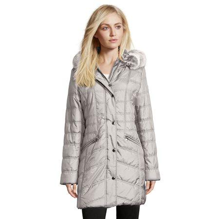 Betty Barclay Quilted Coat With Hood Silver  - Click to view a larger image