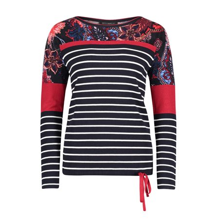 Betty Barclay Fine Knit Jumper With Tie Hem Navy  - Click to view a larger image