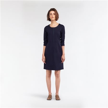 Sandwich A-Line Dress With Coated Piping Navy  - Click to view a larger image