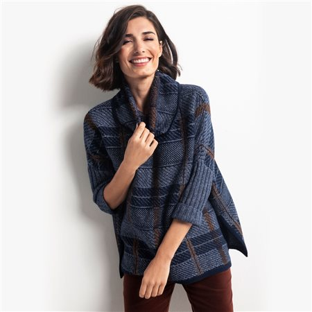 Olsen Cowl Neck Check Design Poncho Blue  - Click to view a larger image