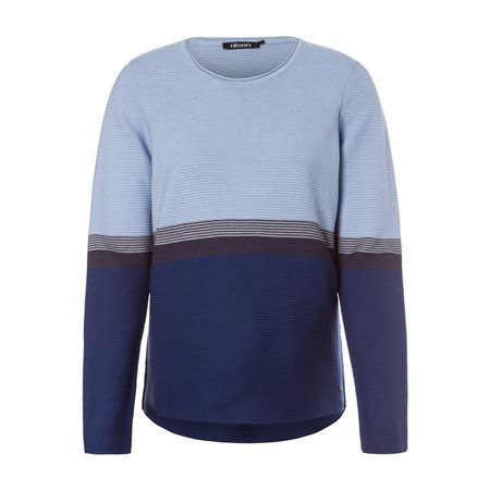 Olsen Round Neck Jumper With Stripe Detail Blue  - Click to view a larger image