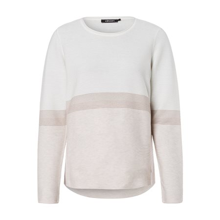 Olsen Round Neck Jumper With Stripe Detail Off White  - Click to view a larger image