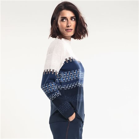 Olsen Geometric Design Stand Up Collar Jumper Navy  - Click to view a larger image