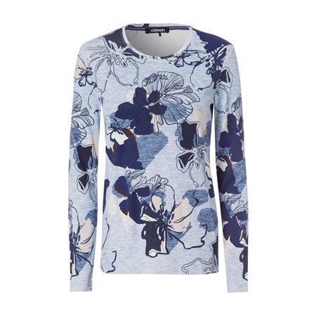 Olsen Round Neck Top With Floral Print Blue  - Click to view a larger image