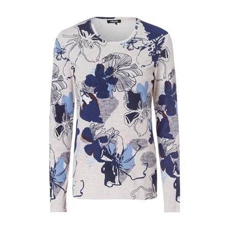 Olsen Round Neck Top With Floral Print Cream  - Click to view a larger image