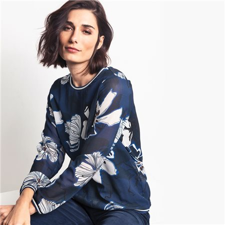 Olsen Floral Print Long Sleeve Blouse Blue  - Click to view a larger image