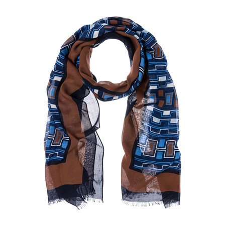Olsen Geometric Design Scarf Blue  - Click to view a larger image