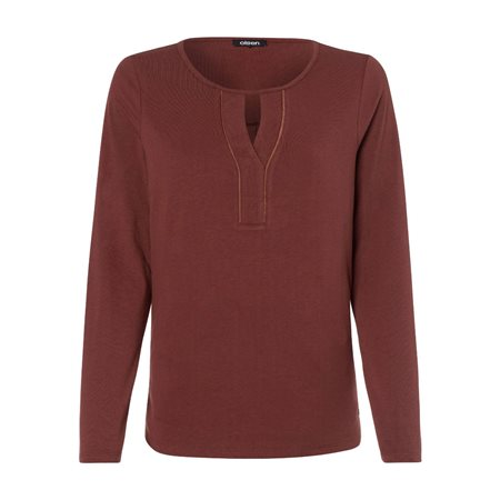 Olsen Keyhole Long Sleeve Top Cognac  - Click to view a larger image