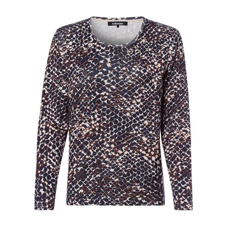 Olsen Snake Print Top Cognac  - Click to view a larger image