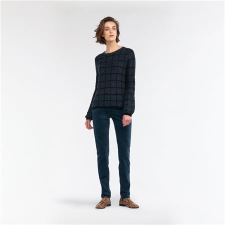 Sandwich Jacquard Mottled Sweater With Plaid Black  - Click to view a larger image
