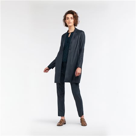 Sandwich Long Blazer Vegan Suede Look Green  - Click to view a larger image