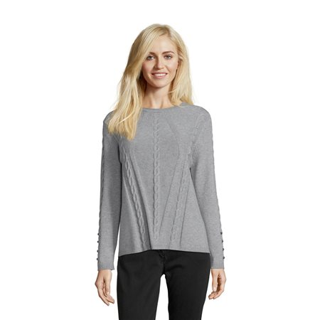 Betty Barclay Cable Knit Jumper Grey  - Click to view a larger image