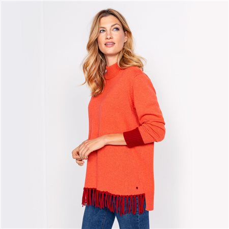 Olsen Fringe Hem Jumper Orange  - Click to view a larger image