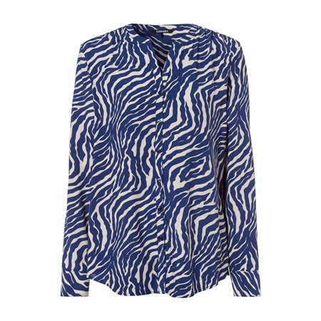 Olsen Long Sleeve Blouse With Animal Print Blue  - Click to view a larger image