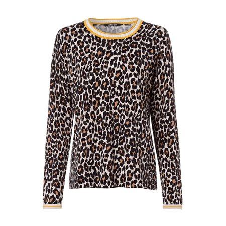 Olsen Round Neck Leopard Print Jumper Black  - Click to view a larger image