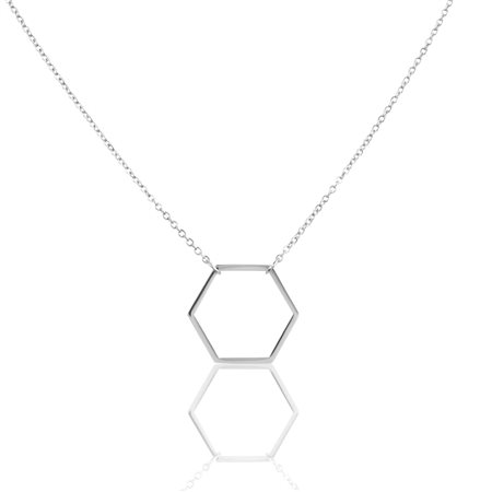 Elie Beaumont Hexagon Necklace Silver  - Click to view a larger image