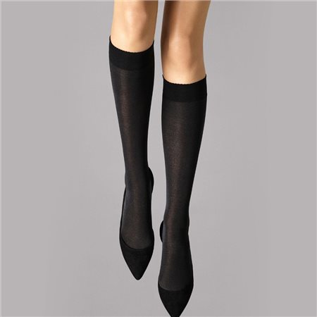 Wolford Velvet De Luxe 50 Knee-Highs Black  - Click to view a larger image