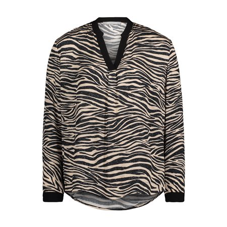 Betty & Co Animal Print Blouse Black  - Click to view a larger image
