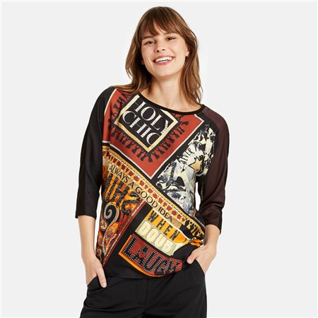 Taifun 3/4 Sleeve Top With Design Print Black  - Click to view a larger image