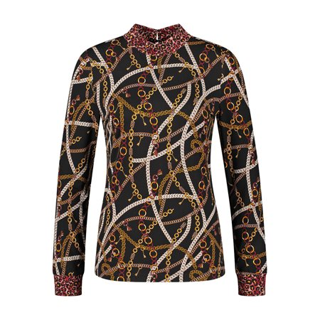 Taifun Chain Print Turtleneck Top Red  - Click to view a larger image