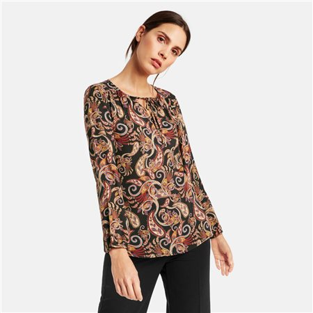 Taifun Paisley Print Blouse Red  - Click to view a larger image