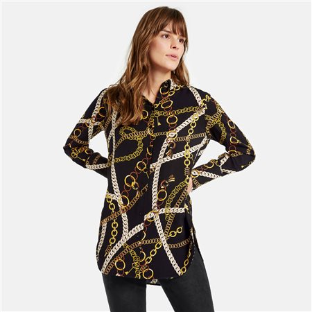 Taifun Chain Print Blouse Black  - Click to view a larger image